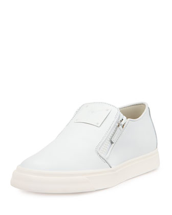 Leather Slip-On Sneaker, White