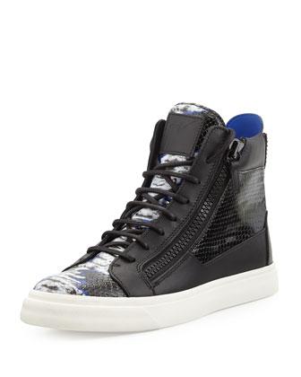 Tie-Dye Print High-Top Sneaker, Black/Blue/White