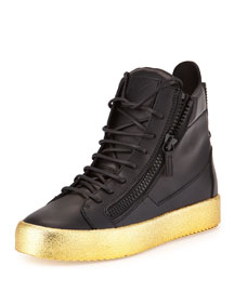 Men's Leather High-Top Sneaker, Black/Gold