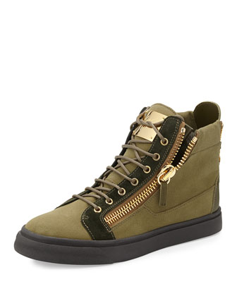 Men's Canvas High-Top Sneaker, Olive