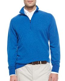 Roadster Half-Zip Cashmere Sweater, Blue