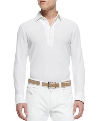 Huck Lace Long-Sleeve Polo, White