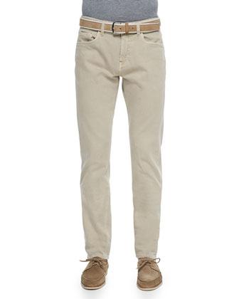 Five-Pocket Denim Jeans, Tan