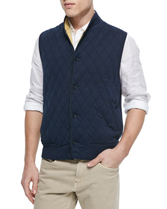 Quilted Button-Front Sweater Vest