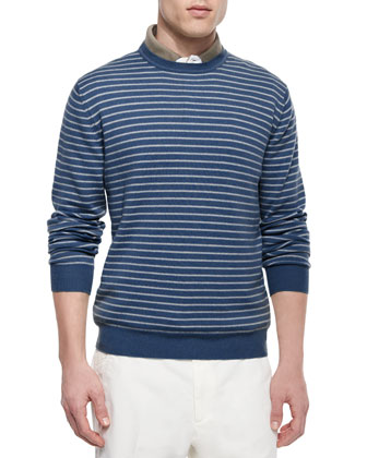 Westport Striped Crewneck Sweater, Blue/White