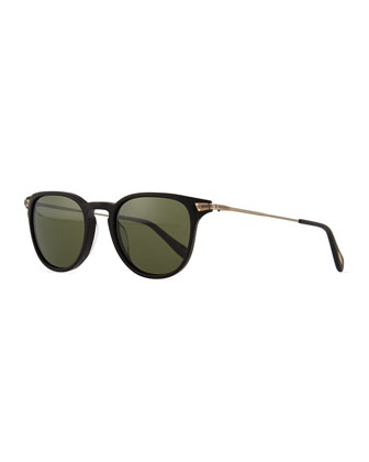 Ennis Acetate/Metal Sunglasses, Black/Antiqued Gold