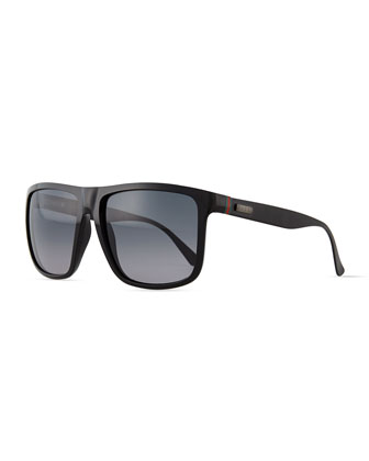 Plastic Square-Frame Sunglasses, Shiny Black