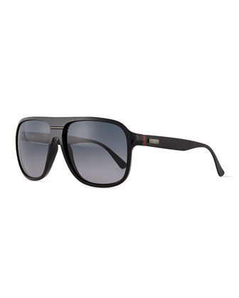 Plastic Rounded-Frame Sunglasses, Shiny Black