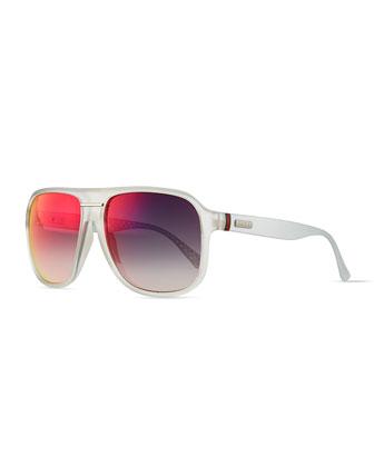 Plastic Frame Sunglasses, Crystal/Dark Gray