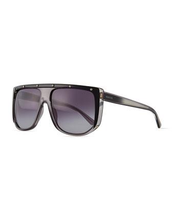 Plastic Frame Sunglasses, Gray/Black/Crystal