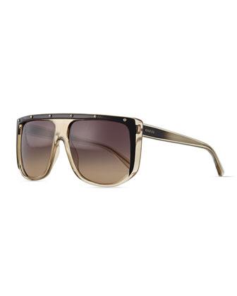 Plastic Frame Sunglasses, Gray/Black/Crystal/Green