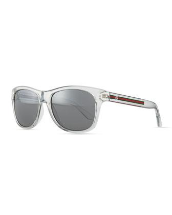 Plastic Frame Sunglasses, Crystal