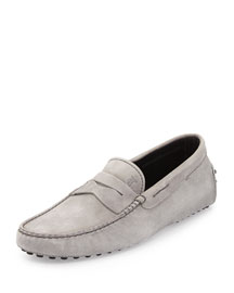 Suede Penny Driver, Gray