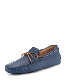 Braided Pebbled Leather Driver, Blue