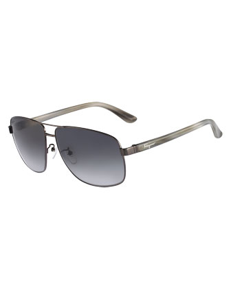 Navigator Metal Sunglasses, Shiny Gunmetal