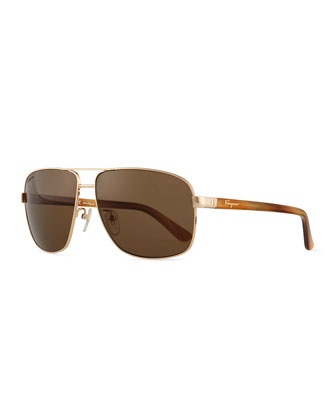 Polarized Aviator Sunglasses, Shiny Rose-Tone