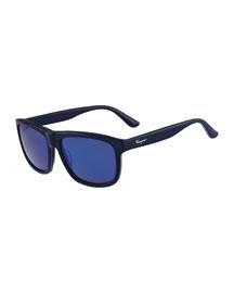 Square Plastic Polarized Sunglasses, Blue Azure