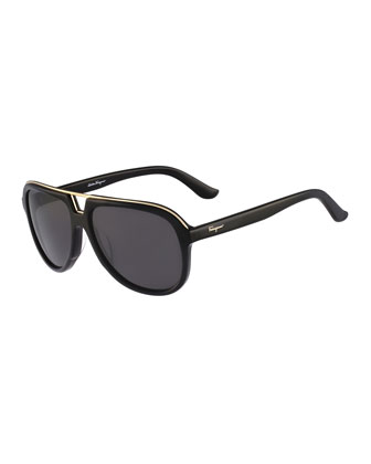 Navigator Plastic Sunglasses, Black