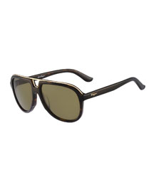 Navigator Plastic Sunglasses, Tortoise