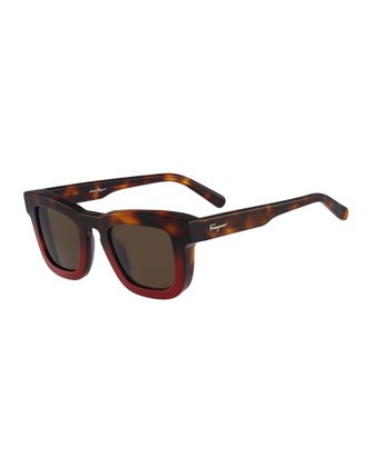 Runway Plastic Sunglasses, Havana Red