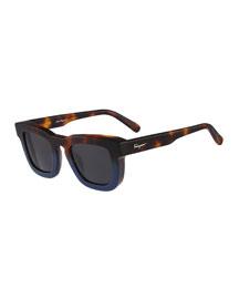 Runway Plastic Sunglasses, Havana/Blue