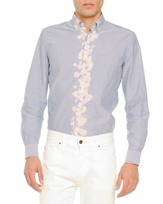 Bleached-Placket Woven Shirt, Light Blue