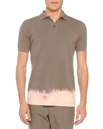 Bleached-Bottom Polo, Taupe