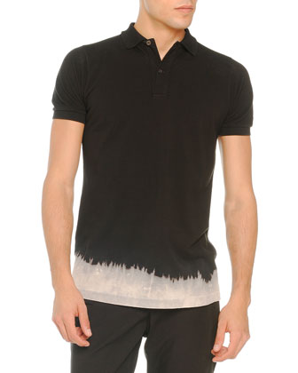 Bleached-Bottom Polo, Black