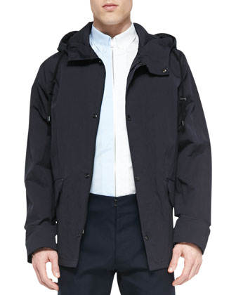 Hooded Short Anorak Jacket, Blue