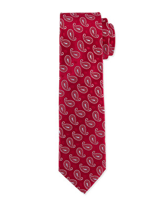 Paisley-Pattern Silk Tie, Burgundy