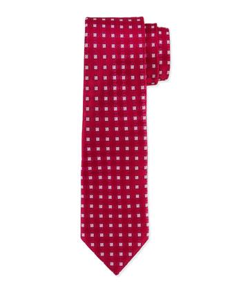 Square Medallion Silk Tie, Burgundy