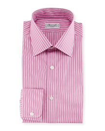 Ribbon-Striped Dress Shirt, Pink