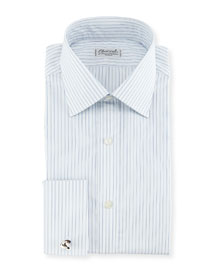 Shadow Striped French-Cuff Dress Shirt
