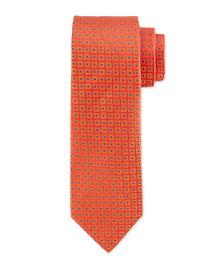 Double Helix Silk Tie, Orange/Blue