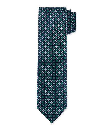 Floral-Pattern Polka-Dot Silk Tie, Green/blue