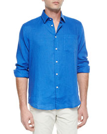 Linen Long-Sleeve Shirt, Turquoise