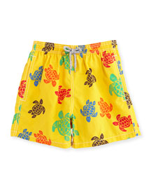 Turtle-Print Swim Trunks, Yellow/Multicolor, Size 8-14