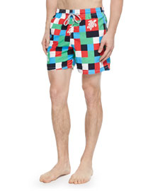 Moorea Check Turtle-Print Swim Trunks, Multi