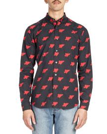 Heartbreaker-Print Sport Shirt, Red/Black
