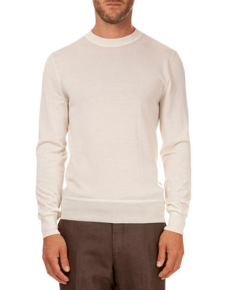 Leather Detail Crew Neck Sweater, Ivory