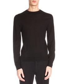 Leather Shoulder Detail Crewneck Sweater, Black