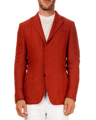 Linen-Blend Safari Jacket, Orange