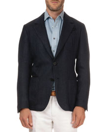 Textured Herringbone Jacket, Navy/Black