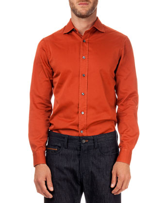 Solid Woven Button-Down Shirt, Orange