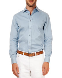 Solid Button-Down Shirt, Sky Blue