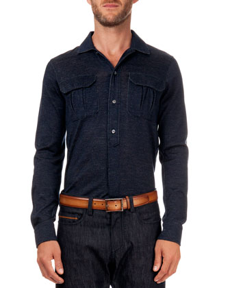 Two-Pocket Melange-Knit Shirt
