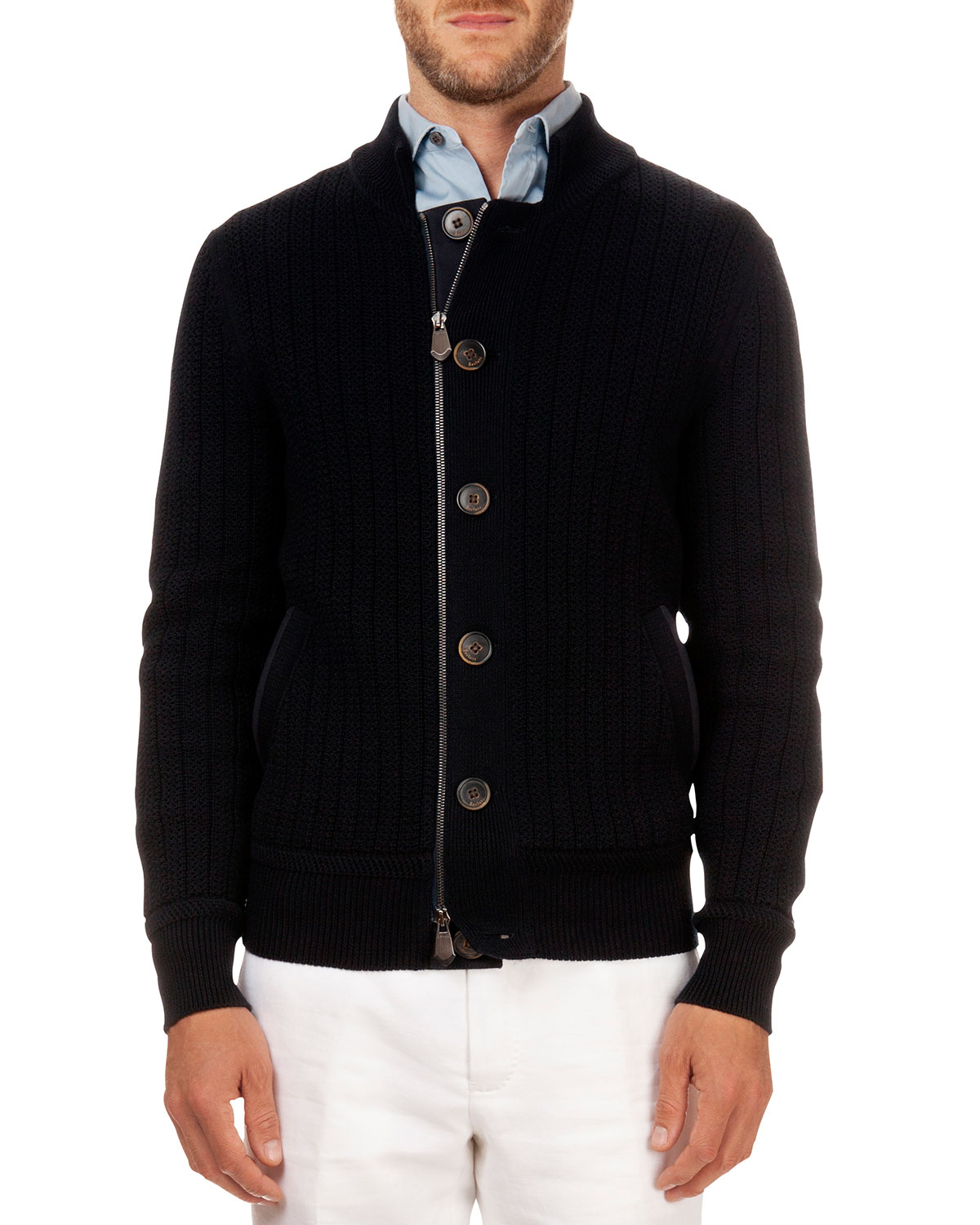 Button/Zip Cardigan, Navy