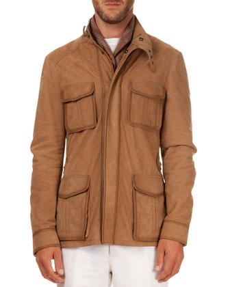Leather Field Jacket, Beige