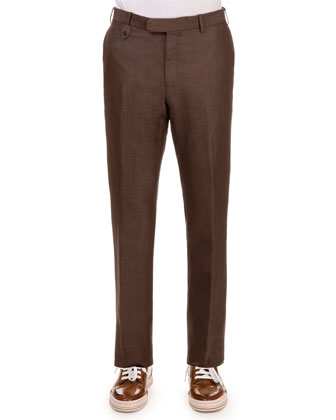 Linen-Blend Flat-Front Chino Pants, Brown