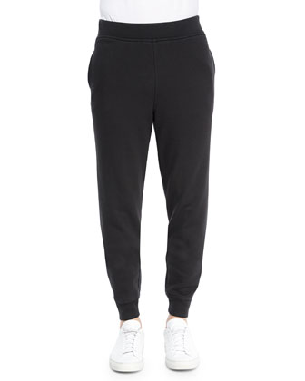 Washed Cotton Tapered Sweatpants, Black